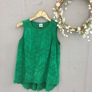 Cabi green eyelet high low tank top. Small.